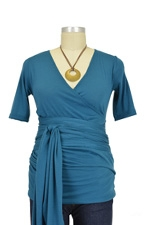 The Bella Wrap Around SS Maternity Top (Teal) by Lilac Maternity & More