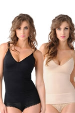 Mother Tucker™ Compression V-Neck Tank-2 Pack (Black & Nude) by Belly Bandit