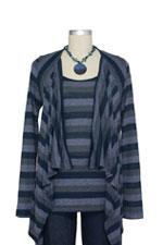 JW D&A Nursing Striped One-Piece Cardigan (Navy Stripe) by Japanese Weekend