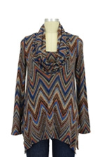 Sabra Cowl Neck Nursing Sweater (Blue Ziggy Print) by Maternal America