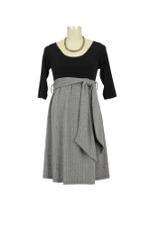 MA Scoop Neck Front Tie Maternity Dress (Black/Light Grey Herringbone) by Maternal America