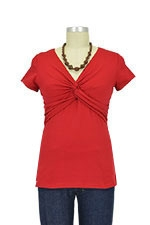 Knot Front Nursing Top (Red) by Dote
