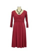 Ilana Cross Wrap Nursing Dress (Deep Garnet) by Mothers en vogue