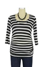D&A Dramatic Stripes Drape Nursing Top (Black & White Stripes) by Japanese Weekend