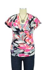 D&A Floral Side Shirred Nursing Top (Hot Floral) by Japanese Weekend