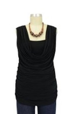 Leah Cowl Sleeveless Nursing Top (Black) by Olian