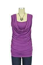 Leah Cowl Sleeveless Nursing Top (Grape Juice) by Olian