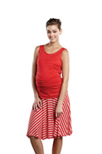 Holly Ruched Maternity Dress (Red/Red Stripes) by Maternal America