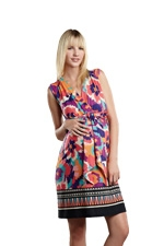 Mini Sleeveless Front Tie Maternity Dress (Border Canvas Print) by Maternal America