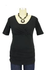 Melissa Side Ruched Nursing Tee (Black) by Mothers en vogue