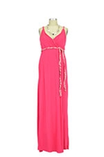 Sofia Maxi Maternity Dress (Deep Coral) by Everly Grey