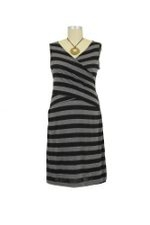 D&A Cross Front Nursing Dress (Black & Charcoal Stripes) by Japanese Weekend
