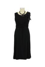 Fleur Bamboo Shoulder Enhanced Maternity Dress (Black) by Japanese Weekend