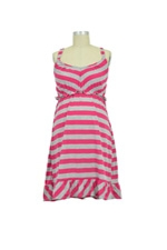 Lisa Ruffle Nursing Gown (Fuschia & Grey Stripe) by Larrivo