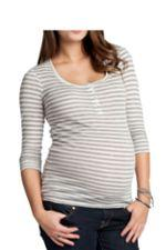 Ingrid & Isabel 3/4 Sleeve Henley (Grey Stripe) by Ingrid & Isabel