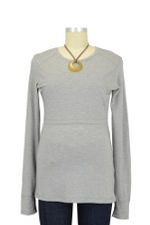 Boob Warming Wool Nursing Top with Extra Long Sleeves (Grey Melange) by Boob