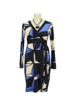 Ciara Wrap Maternity Dress (Blue & Beige Geometric Print) by Olian
