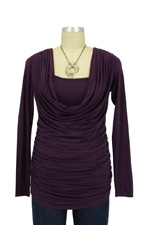 Mandy Cowl Neck Nursing Top (Purple) by Olian
