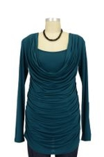 Mandy Cowl Neck Nursing Top (Dark Teal) by Olian