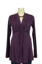 Mandy Waterfall Knot Front Maternity Top (Purple) by Olian
