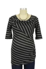 Willa D&A Stripes Nursing Top (Grey & Black Stripes) by Japanese Weekend
