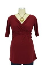 Laura Deep V-Neck D&A Nursing Top (Burgundy) by Japanese Weekend