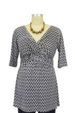 Laura Deep V-Neck D&A Nursing Top (Navy Chain) by Japanese Weekend