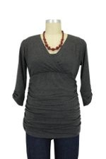 Danielle D&A Tabbed Sleeve Nursing Top (Charcoal) by Japanese Weekend