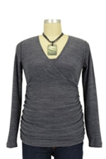 Helen D&A Surplice Nursing Sweater (Grey) by Japanese Weekend