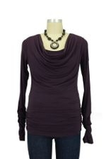 Nellie D&A Side Cinched Cowl Nursing Top (Eggplant) by Japanese Weekend