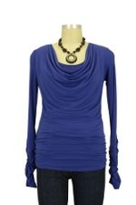 Nellie D&A Side Cinched Cowl Nursing Top (Royal) by Japanese Weekend