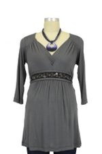 Julie D&A Nursing Top with Embellished Belt (Smoke) by Japanese Weekend