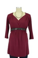 Julie D&A Nursing Top with Embellished Belt (Burgundy) by Japanese Weekend