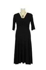 Lila Tummy Tuck Nursing Dress with Sleeves (Black) by Maternal America
