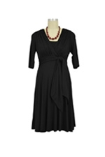 Natasha Front Tie Nursing Dress (Black) by Maternal America