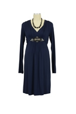 Diamond Long Sleeve Maternity Dress (Navy) by Maternal America