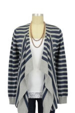 Allie Stripes Maternity & Nursing Cardigan (Silver & Indigo) by Ripe Maternity