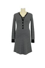 Carey Stripes Nursing Nightdress (Black & Grey Stripes) by Annee Matthew