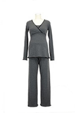 The Margo Nursing PJ Set (Charcoal with Black Lace) by Majamas