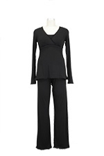 The Margo Nursing PJ Set (Black with Black Lace) by Majamas