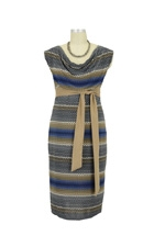 Evelyn Maternity Dress with Suede Sash (Blue Mix with Mink Sash) by Jules & Jim