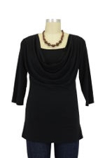 Momzelle 3/4 Sleeve Fancy Nursing Top (Black) by Momzelle