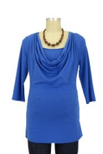 Momzelle 3/4 Sleeve Fancy Nursing Top (Electric Blue) by Momzelle