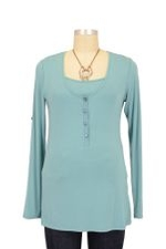 Liz Roll-up Sleeve Nursing Top (Dusky Turquoise) by Mothers en vogue