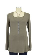 Liz Roll-up Sleeve Nursing Top (Cobblestone) by Mothers en vogue