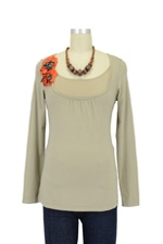 Florica Long Sleeve Nursing Tee (Dusky Grey Olive) by Mothers en vogue