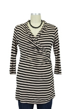 Kendall Faux Wrap Stripe Nursing Top (Black & Buff Stripes) by Mothers en vogue