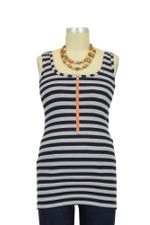 Molly Ades Zippered Nursing Tank (Navy & Heather Stripes) by Molly Ades