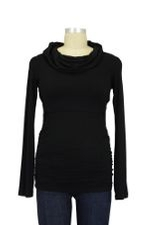 Peek-a-boo Cowl Neck Nursing Top (Black) by Peek-a-boo