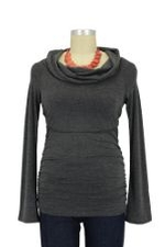 Peek-a-boo Cowl Neck Nursing Top (Charcoal) by Peek-a-boo